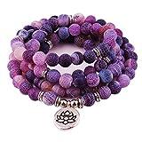 GVUSMIL 8mm 108 Mala Beads Envolver Pulsera Collar para Yoga Encanto Pulsera Natural Piedra Preciosa...