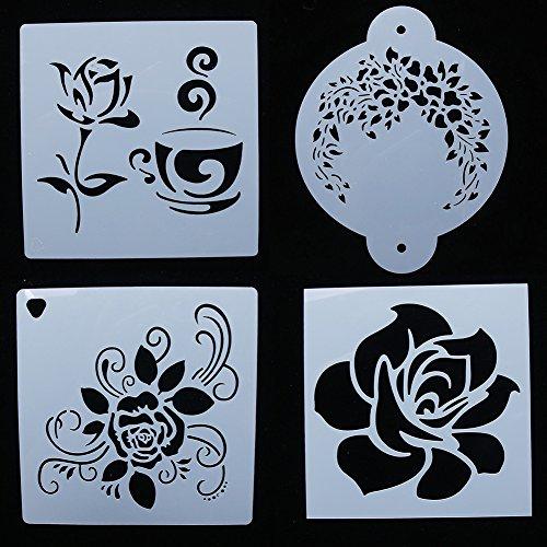 NUOMI Flower Painting Stencils Plastic Set of 4 Baking Stencils Cake Decorating Templates, Reusable Kids' Art Craft Tools, DIY Birthday Cake Spray Molds 6 Inch