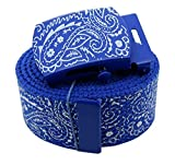 AccMall Men's Canvas Military Bandana Pattern Web Belt & Buckle 60 Inches Royal