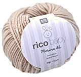 Rico Baby Merino dk 002 - beige Babywolle aus Merinowolle extrafine zum Stricken und Häkeln, Merinowolle Babywolle Rico Merino