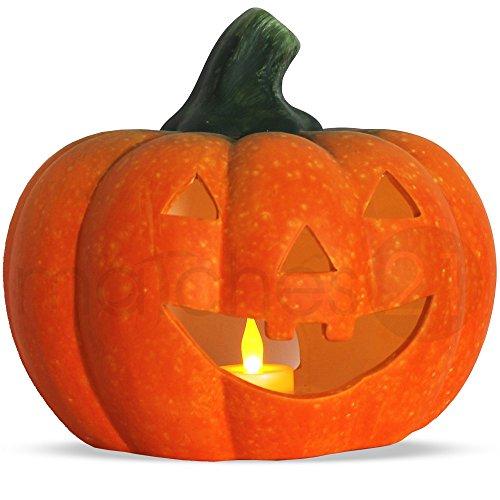 matches21 Halloween Kürbis Laterne/Windlicht 22x20 cm Halloweendekoration Dekokürbis Türkürbis Ton inkl. LED Teelicht