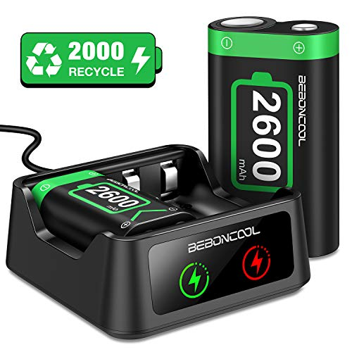 BEBONCOOL Rechargeable Battery Pack Compatible With Xbox One Controller, 2x2600mAh Rechargeable Batteries & Charger, Battery Pack Rechargeable Compatible With Xbox One/One S/One X/One Elite Controller