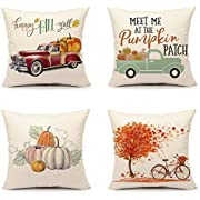 4TH Emotion Fall Throw Pillow Cover Pumpkin Truck Maple Leaves Bicycle Farmhouse Autumn Cushion Case for Sofa Couch 18 x 18 Inches Cotton Linen Set of 4