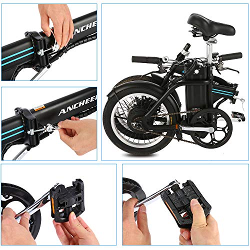 ANCHEER Folding Electric Commuter Bike, 16'' City Ebike with 8Ah Removable Lithium-Ion Battery Electric Bicycles (Black)
