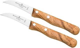 Schwertkrone Messer Solingen Germany Obstmesser/Gemüsemesser scharf/Schälmesser Holz Olivenholz 15,5 cm gebogen rostfrei Vogelschnabel 2