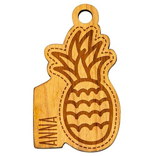 Sleutelhanger ananas pineapple fruit naam hout natuur hanger met individuele gravure wenstekst geschenk ca. 30 x 51 mm