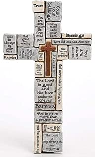 Roman inc. Christians Words and Saying Crossword 16 inch Resin Stoneware Wall Cross