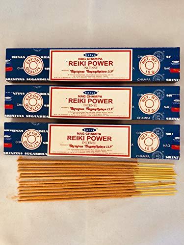 3 X Reiki Power Packs de bâtonnets d'encens Satya Nag Champa 15 g avec badge de souvenir par Sterling Effectz