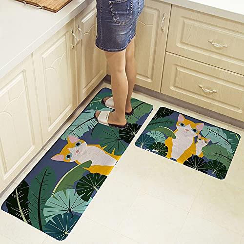 HLXX Alfombra geométrica de la cocina de la historieta del cuarto de baño Alfombra de piso de la alfombra de entrada del hogar alfombra de piso A7 40x60cm+40x120cm
