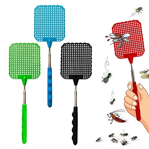 BluVast Fliegenklatsche,Fliegenklatsche Ausziehbar,4 Stück Fliegenklatsche Stabil Manuelle Swat Schädlingsbekämpfung, Mückenschutz Fliegenschutz für Fliegen, Mücken und Insekten