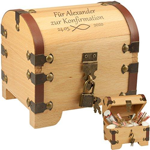 Geschenke 24 Holz-Schatztruhe zur Konfirmation mit Gravur Holz – personalisierte Schatzkiste als Geschenke Verpackung für Geldgeschenke – Geschenk mit Name und Datum graviert