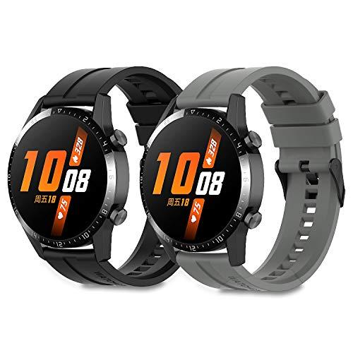 Braleto Armband Silikon 22mm Uhrenarmband Silikon Sport Band kompatibel für Huawei Watch GT 2/Samsung Galaxy Watch 46mm/Gear S3/Gear 2 R380/Gear 2 Neo R381 (Schwarz&Grau)
