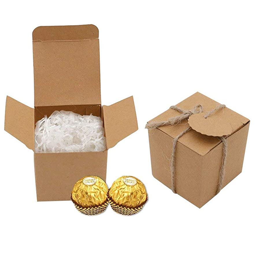 VGOODALL Kraft Paper Favor Boxes,50pcs Cube Candy Boxes Treat Gift Boxes with Thank You Tags for Wedding Bridal Shower Birthday Party