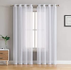 HLC.ME 2 Piece Semi Sheer Voile Light Filtering Window Curtain Grommet Panels for Bedroom & Living Room (54 W x 84 L Inch Long, White)