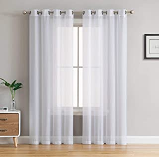 HLC.ME 2 Piece Extra Wide Semi Sheer Voile Grommet Window Curtain Panels for Bedroom (White) - 54 W x 120 L
