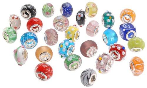 Bundle Monster Kunstnägel Viel Silber Lampwork Murano Glas europäische Mix Perlen–Kompatibel mit Pandora, Chamilia, Troll, Biagi