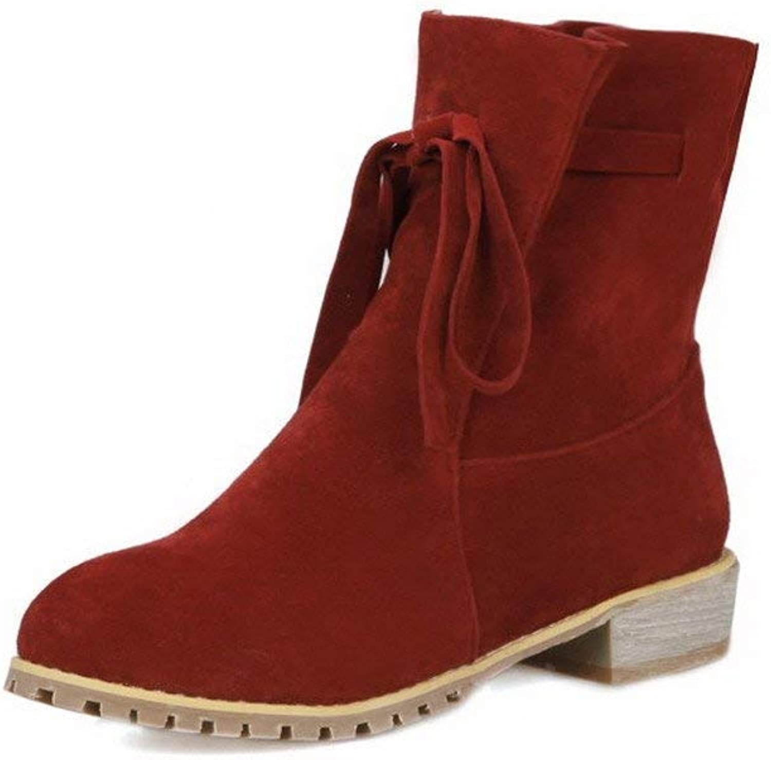 PRETTYHOMEL Women's Lace-up Round Closed Toe Low-Heels Imitated Suede Low-Top Boots