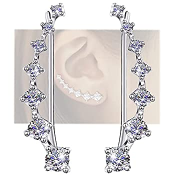 Earring for Women Cartilage 7 Crystals Ear Cuffs Hoop Climber S925 Sterling Silver Earrings with Cubic Zirconia CZ Hypoallergenic Piercing Gifts for Her
