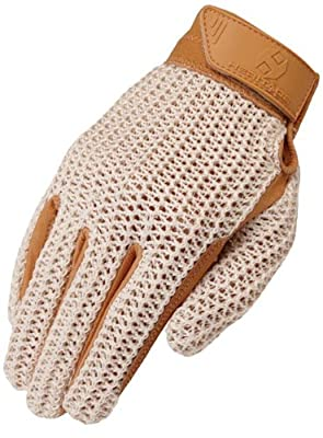 Heritage Crochet Riding Gloves, Size 8, Natural Tan from Heritage Performance Gloves