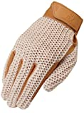 Heritage Crochet Riding Gloves, Size 7, Natural Tan