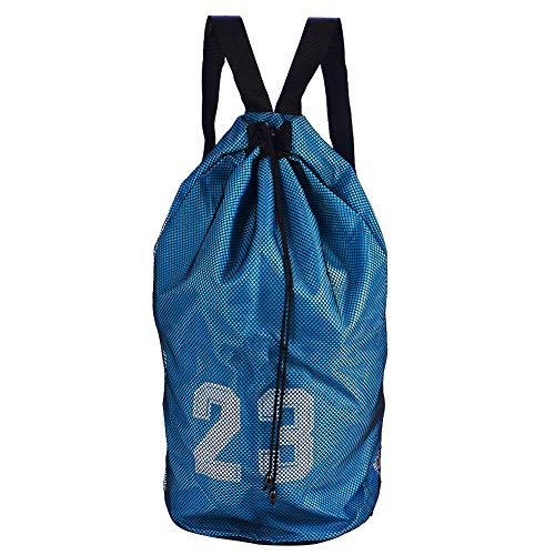 TAKE FANS Baloncesto Fútbol Entrenamiento Ejercicio Malla Mochila Hombro Cordón Bolsa (Azul)