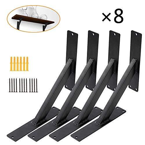 HAOT Soportes de Estante de Placa Flotante, Soportes de Estante de Metal, cargables 70 kg  Consola de Pared, ángulo de repisa Negro en 3 tamaños, 820 cm