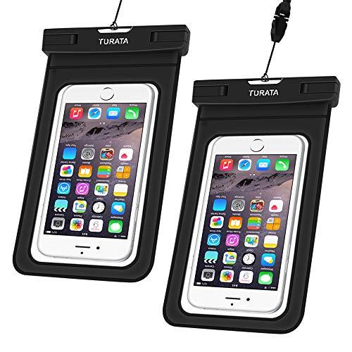 TURATA wasserdichte Handyhülle wasserdichte Hülle wasserfeste handyhülle staubdicht Schützhülle für iPhone X 8 7 6s 6 Plus 5s Samsung S8 S7 S6 bis zu 6 Zoll (2 Stücke)
