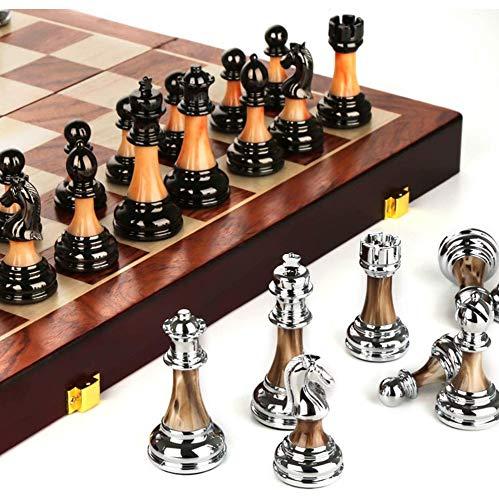 Juego de ajedrez de madera de lujo, juego de ajedrez de tácticas clásicas Juego de ajedrez plegable portátil para principiantes, adecuado para la interacción entre padres e hijos, regalo de negocios