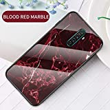 Yoodi Oppo Reno Ace Case, Realme X2 Pro Case, Marble Design Tempered Glass Back Case Premium Hybrid Anti-Scratch Flexible Edge Bumper Cover Skin - Blood Red