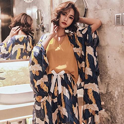 YANGYUE Conjunto de Pijamas de Cuatro Piezas de Seda de algodón para Mujer, Chaleco de rayón cómodo, Camisetas de Ocio con grúa Gaucho, Pijamas para Mujer