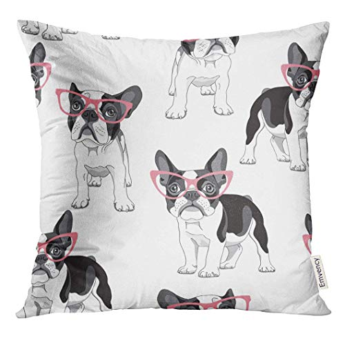 antoipyns Throw Pillow Cover-Black Frenchie with Cartoon French Bulldog in Pink Glasses On White Dog Funny Decorative Pillow Case Home Decor Square (18 x 18) Inches Pillowcase