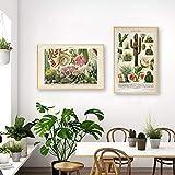 VCFHGVG Cactus Flores Plantas del Desierto Suculentas Carteles e Impresiones Arte botánico de la Pared Pintura de la Lona Cuadros educativos de la Pared Decoración 40x60cmx2 Sin Marco