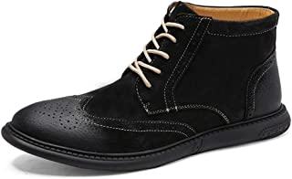 ZHANGLEI Brogue Carving Boots for Men Ankle Boot Lace Up PU Leather Round Toe Perforated Wingtip Burnished Style Anti-Slip Wear-Resistant (Color : Black Fleece Lined, Size : 5.5 UK)