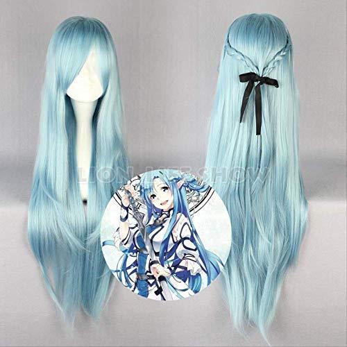 SAO ALO Titania Yuuki Asuna Water Fairy Long Straight Aqua Blue Cosplay Full Wig