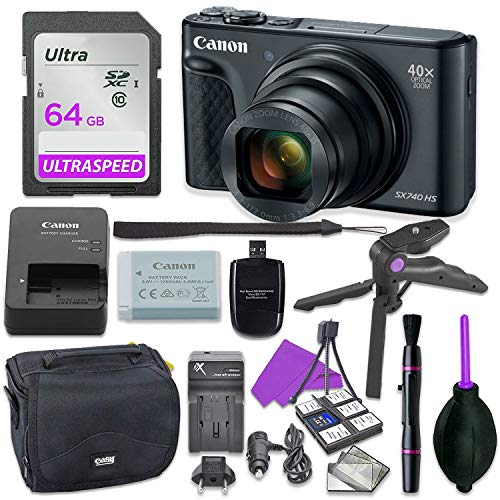 Canon PowerShot SX740 Digital Camera Bundle (Black) with Tripod Hand Grip, 64GB SD Memory, Case and More
