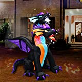 SYN 7 Ft Halloween Inflatable Two Head Dragon with LED Light for Indoor Outdoor Decoration