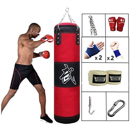 XHLLX Boxeo Punzón Pesado Bolso Pesado Sin Llenar con Cadenas + Gancho + Guantes De Boxeo + Manos Vendas Kickboxing Muay Muay Thai Training Fitness Entrenamiento De Entrenamiento (Color: 47In)