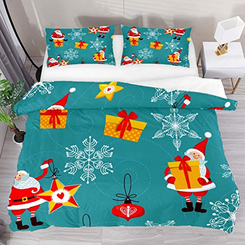 SENNSEE Christmas Santa Claus 3 Piece Duvet Cover Set Queen Size 90'x90' Soft Quilt Cover Decorative Bedding Sets 1 Duvet Cover 2 Pillowcases Polyester Bedspread