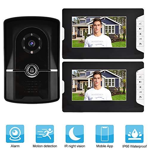 Garsent Video Türsprechanlage Türklingel Intercom System, Video Türklingel mit 2 Monitor, Nachtsicht Kamera Doorbell für 1/2 Familienhaus(EU 110-240V)