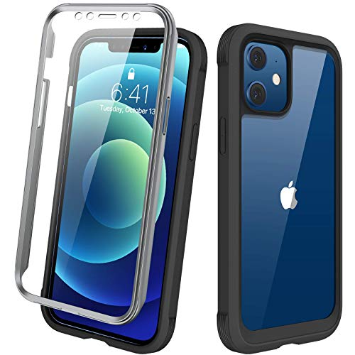 "Diaclara Designed for iPhone 12/12 Pro Case, Full Body Rugged Case with Built-in Touch Sensitive Anti-Scratch Screen Protector, Soft TPU Bumper Case for iPhone 12/12 Pro 6.1"" (Black and Clear)"