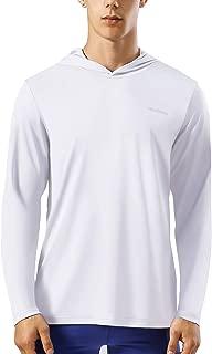 HISKYWIN Men's UPF 50+ Sun Protection Hoodie Long Sleeve Performance T-Shirt Athletic Top Rashguards HF105-White-XXL
