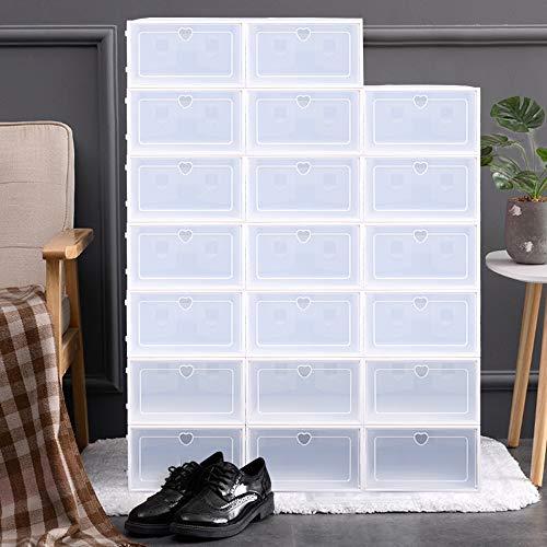 Scatole per scarpe, 20 pezzi, trasparenti, scatole per scarpe, scatole di plastica, pieghevoli e impilabili, per donne e uomini (bianco)