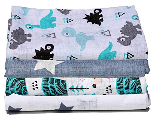 Clevere Kids Baby Mulltücher 4er-Pack | Spucktücher | 70x80 / OEKO-TEX | Baumwolle doppelt gewebt (Jungs)