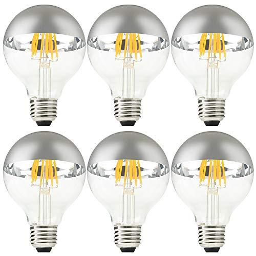 G25/ G80 Half Chrome Light Bulb, CKWPY 6W Dimmable LED Filament Vintage Globe Light, Warm White 2700K, E26 Base for Dining Table, Dressing Room, Vanity Strip, Pack of 6
