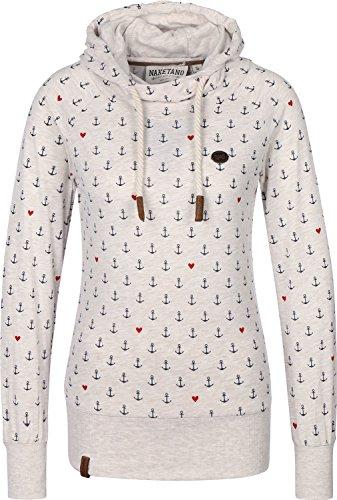 Naketano Damen Sweatshirt Bigbabababagei Hoodie Longshirt mit Kapuze Longsleeve Oma Melange S