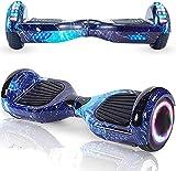 Magic Vida Hoverboard - 6.5' - Bluetooth - Motor 700 W - Velocidad 15 km/h - LED - Patines eléctricos autoequilibrados - Para niños y adultos - Azul Galaxy