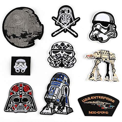 Ropa Parches/Parches bordados,para la reparación/DIY camisetas, jeans, ropa, bolsos y otros textiles, estilo de elemento de animación Star Wars de 9 piezas