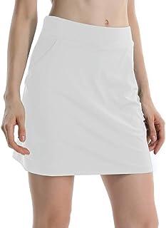Jessie Kidden Women's Athletic Stretch Skort Skirt Shorts Pocket Running Tennis Golf Workout, 949 White, XXL