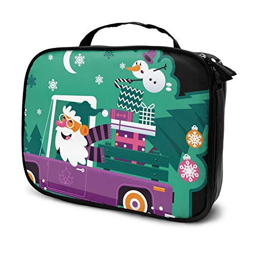 Santa Driving Retro car with Green Tree Makeup Bag Cosmetic Organizer Toiletry Beauty Case Travel Pouch