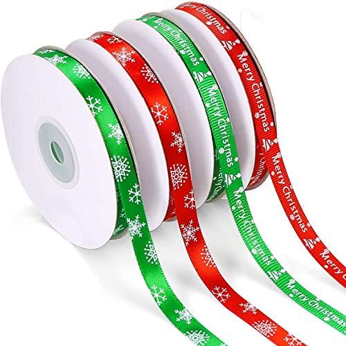 Cinta de grogrén con impresión de Merry Christmas para envolver regalos y decoraciones navideñas (100 yardas)